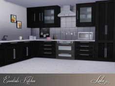 A clean lined kitchen with various cabinets and counters ,includesglass wall units for a modern look.Use the various counters and cabinet to create a kitchen that fits your style .  Found in TSR...
