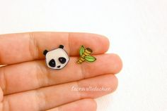 Panda bear and bamboo post earrings  Woodland by lacravatteduchien, €10.00