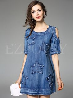 Shop for high quality Short Sleeve Round Neck Shift Dress online at cheap prices and discover fashion at Ezpopsy.com