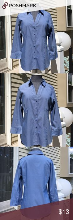 Like New! Apostrophe 3/4 Sleeve Button Down Shirt Like New! Apostrophe 3/4 Sleeve Button Down Shirt in Medium. 60% Cotton 35% Polyester 5% Spandex. Very Flattering On! Apostrophe Tops Button Down Shirts