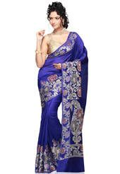 Dark Blue Pure Banarasi Silk Saree with Blouse