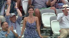 A woman had an embarrassing day at the cricket at Lord's in London when her moment on the ground's big screen gave the thousands in the ground a moment of classic physical humour.