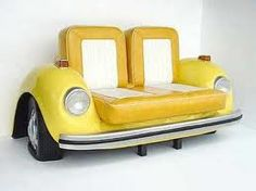 Yellow Sofa from old car. Kinda ugly but cool for movie room