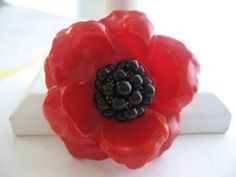 SOLD - VINTAGE Red Floral Brooch