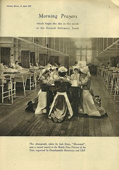 Morning Prayers Leeds General Infirmary This warms my heart. Nurse Pics, Nurse Photos, Nurse Stuff, History Of Nursing, Medical History, Vintage Nurse, Vintage Medical, Nursing Pictures, All Nurses