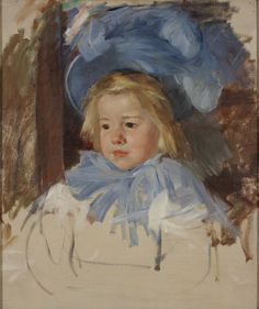RISD Museum: Mary Cassatt, American, 1844-1926. Simone in a Blue Bonnet, ca. 1903. Oil on canvas. 61 x 52.1 cm (24 x 20 1/2 inches). Gift of Mrs. Murray S. Danforth 60.095