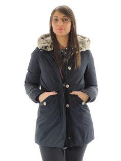 Giubbino donna Woolrich blu con cappuccio WWCPS2243 (Xs)