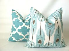 Aqua Taupe Peacock Pillow Cover 18 x 18 One by PillowStyles
