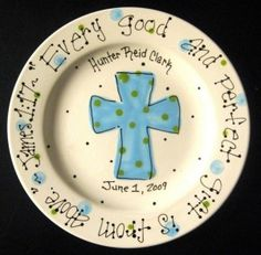 Items similar to Baptism Plate - Hand Painted Baby Plate with Cross - Great Baptism Gift on Etsy Sharpie Plates, Sharpie Crafts, Sharpie Pens, Baptism Gifts, Christening Gifts, Baptism Ideas, Pottery Painting, Ceramic Painting, Ceramic Art