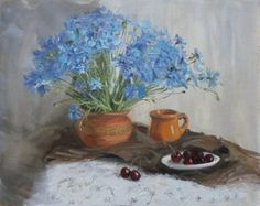 Bouquet of cornflowers Bouquet blue flowers Original oil paintings Home decor This bouquet of cornflowers I really like and I hope you like it ! the size of the work 50 * 40 cm