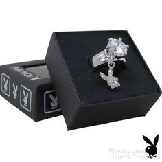 Playboy Ring Solitaire Swarovski Crystal Bunny Charm Platinum Plated Size 7 #Playboy #Statement