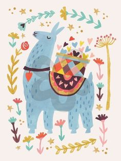 Oopsy Daisy Blue Llama by Irene Chan Canvas Art Alpaca Illustration, Illustration Mignonne, Cute Illustration, New Year Illustration, Alpacas, Images Lama, Lama Animal, Llama Pictures, Llama Images