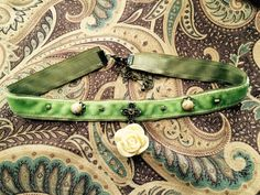 Lime Green Velvet Choker by BecksCuriousities on Etsy