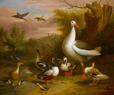 Attributed to Jakob Bogdány (1660 - 1724), A Goose, and other fowl beside a pond, oil on canvas, sold at Sotheby's