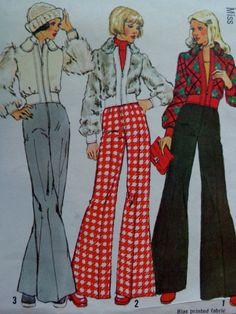 des années 70 Flare taille haute pantalon motif et la veste courte simplicité 5922 buste taille 12 34