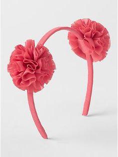 Floral pom headband