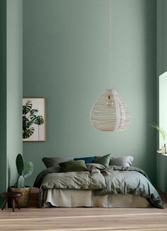 Modern Earthy Home Decor: Soothing bohemian bedroom with soft pistachio green blue walls and rattan hanging lamp Home Decor Bedroom, Decor, Bedroom Trends, Bedroom Colors, Bedroom Green, Earthy Home Decor, Bedroom Design, Home Decor, Luxury Decor
