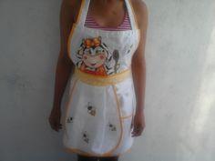 Avental cozinha vaquinha com abelhinha | Nuza Artes | Elo7