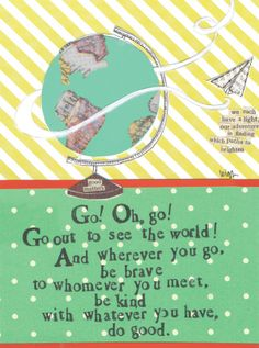 Great for a new graduate or friend going on an adventure! Curly Girl Greeting Card- Go out and see the world