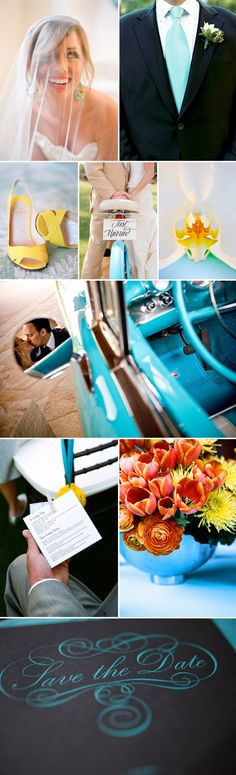 Aqua blue and yellow color ideas, perfect for a summer time wedding