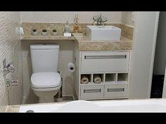 Obra no banheiro - Alessa Vale Bathroom Design Luxury, Bathroom Design Small, Interior Design Kitchen, Modern Bathroom, 30x50 House Plans, Grill Door Design, Toilet Shelves, Small Toilet, Tiny Bathrooms
