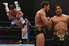 AJ Styles nailed Tetsuya Naito with a Styles Crusher from the second rope, while Katsuyori Shibata and Hirooki Goto reclaimed the Tag Team Title from the Bullet Club pairing of Karl Anderson and Doc Gallows. Wrestle Kingdom 9