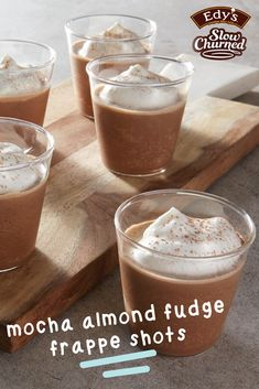 Bring together Edy's Slow Churned Chocolate light ice cream, flavored creamer, and instant coffee to create these Mocha Almond Fudge Frappe Shots this winter. Finish this dessert with whipped cream to make these treats truly tasty. Whipped Cream Desserts, Fudge Flavors, Instant Coffee, Coffee Creamer, Frappe, Easy Desserts, Mocha, Almond