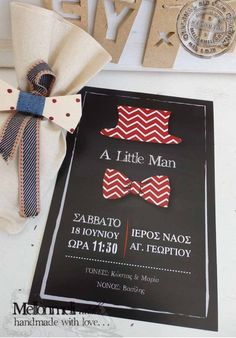 "Προσκλητήριο ""A Little Man"" Baby Boy Baptism, Little Man, Christening, Projects To Try, Bloom, Invitations, Babyshower, Showers, Handmade"