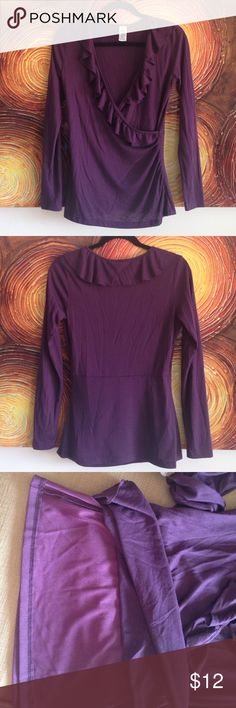 Top Shirt (Blouse) Pretty Long Sleeve Top Shirt (Blouse), Purple color.  Small size. 65% Polyester, 35% Rayon. Lined with spandex (80% Nylon, 20% Spandex).  NEW, IT HAS NEVER BEEN USED, WITHOUT TAG Tops Blouses