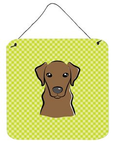 Checkerboard Lime Green Chocolate Labrador Wall or Door Hanging Prints BB1296DS66