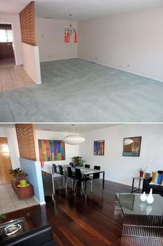 Before and After: June's Top Makeovers Bellawood Bronze Bamboo- Christopher- NM before and after_sweeps Beige Carpet, Modern Carpet, Carpet Replacement, Lumber Liquidators, Diy Rustic Decor, Bronze, Home Furnishings, Decor Styles, Sweet Home