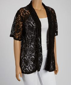 Love this Black Lace Open Cardigan - Plus by Yummy on #zulily! #zulilyfinds