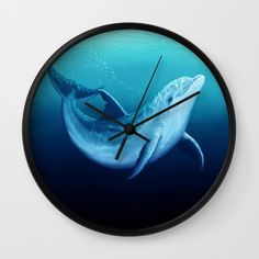 "Wall clock • ""Riversoul Blue"" dolphin art by Amber Marine ••• AmberMarineArt.com"