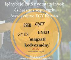 Igénybejelentő nyomtatványok és hasznos segítségek EGY helyen. CSED, GYED, GYES, magzati/családi kedvezmény, GYET, stb.