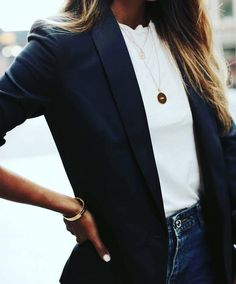 black blazer, white shirt and gold necklace. - black blazer, white shirt and gold necklace. – black blazer, white shirt and gold necklace. Fashion Mode, Work Fashion, Womens Fashion, Fashion Trends, Style Fashion, Trendy Fashion, Classic Fashion, Fashion Images, Fashion Details