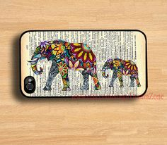 Elephant art &Old newspaper iPhone 4 /4SCase, iPhone 5S Case,iphone 5C case, iPhone 5 Hard Plastic Case, --water proof on Etsy, $8.99