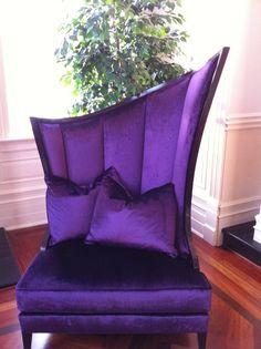 home deco ᘛ sofa fauteuil satin violet purple Purple Furniture, Funky Furniture, Unique Furniture, Purple Chair, Decoration Inspiration, All Things Purple, Purple Stuff, Purple Reign, Take A Seat