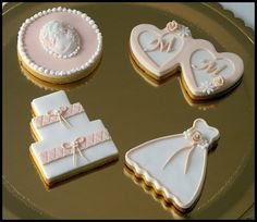 White and Pink Wedding Cookies