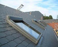 colocacion de ventana y persina electica de la marca velux en majadahonda Windows, Slate Roof, House Staircase