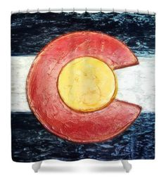"Colorado Flag Decor Shower Curtain, taken from an original plaster wall art piece, by Russell Latino. Made from 100% polyester fabric and includes 12 holes at the top of the curtain for simple hanging from your own shower curtain rings. The total dimensions of each shower curtain are 71"" wide by 74"" tall. Ships within 2-3 business days."