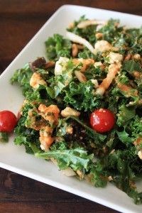 clean eating kale salad w/roasted red pepper dressing             #the joy of clean eating