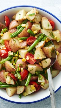 Roasted Vegetable Potato Salad - This roasted vegetable potato salad is light and refreshing, tossed in a dill vinaigrette and mixed with fresh green onions and tomatoes for added flavor. It's a fresh alternative to the traditional creamy potato salad.