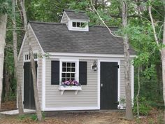 Shed exterior ideas, black doors, shed paint colours, shed paint color idea Backyard Storage Sheds, Backyard Sheds, Outdoor Sheds, Outdoor Storage, Shed Paint Colours, Shed Paint Color Ideas, Shed Exterior Ideas, Black Shed, Painted Shed