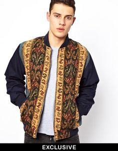 Reclaimed Vintage Varsity Jacket with Tapestry Panel