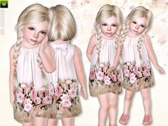 Beige dress with a flower-printed bottom by lillka - Sims 3 Downloads CC Caboodle