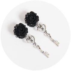 Image of Black Rose Key Plugs\Earrings | 5-30mm