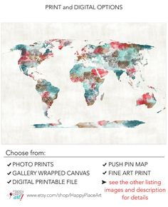 Very large Custom World Map Print with Watercolour Texture.