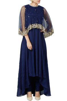 Featuring a navy cut sleeved cut out back asymmetric kurta based in georgette with pearl detailed neckline. It comes with a pair of matching churidaar in net. It is paired with a sheer cape based in net accented with embellished detailing.  Fabric: Georgette, Net  Care Instructions: Dryclean only.