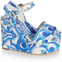 Dolce & Gabbana Printed faille wedge sandals ($900) ❤ liked on Polyvore featuring shoes, sandals, platform, high heel sandals, platform shoes, wedge sandals, high heel shoes and wedges shoes