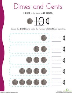 Worksheets: Counting Coins: Dimes